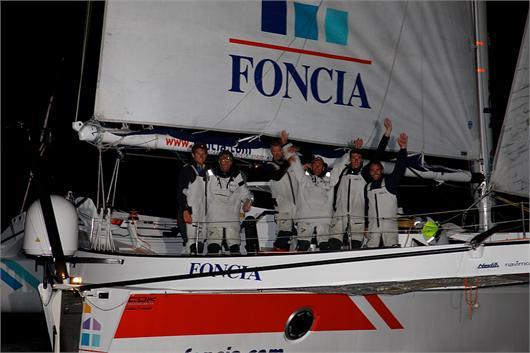 FONCIA Crew Celebrates Leg 1 Win in the MOD70 European Tour  (Photo by David Branigan / MOD70 S.A.))
