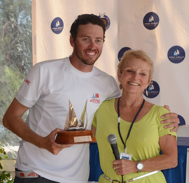 Taylor Canfield won the Match Racing Association's 2nd annual  Jordy Walker Trophy as the most improved young match race sailor who competes in Alpari World Match Racing Tour events or other events that automatically qualify a skipper for a Tour event. Mary Walker made the presentation at the 2012 Argo Group Gold Cup prizegiving at the Royal  Bermuda Yacht Club. (Photo by Talbot Wilson)