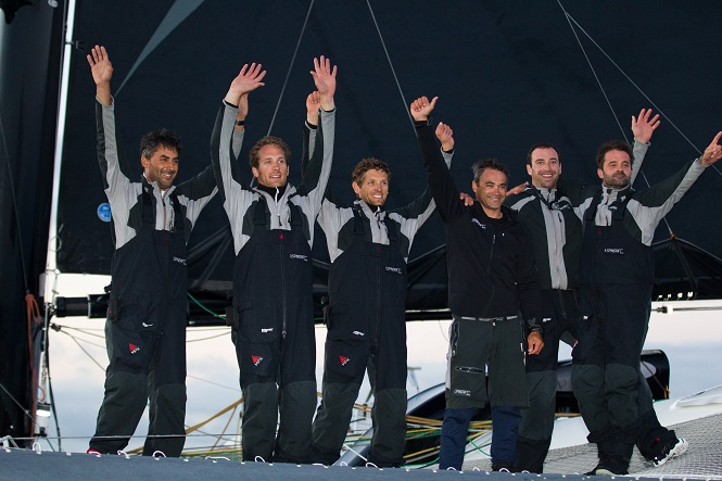 Yann Guichard and The Spindrift Racing Crew celebrate inagural win on the MOD70 Championship (Photo by Lloyd Images)
