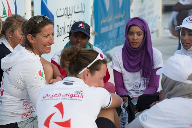 Dee Caffari with Omani sailor Raya Al Habsi (blue cap) will join Sidney Gavignet's team on Oman Air-Musandam  (Photo by Mark Lloyd/www.lloydimages.com)