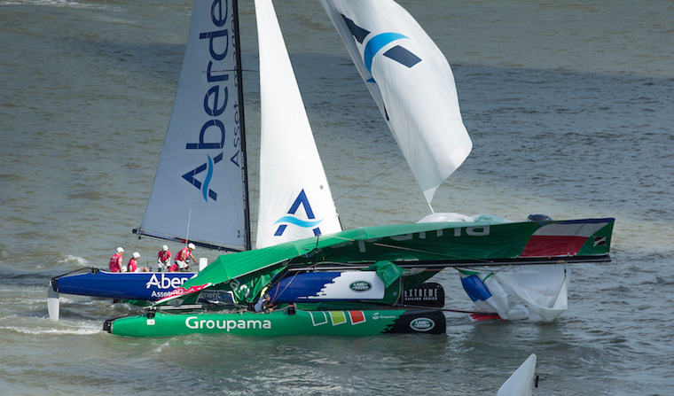 Groupama Extreme 40  and Team Aberdeen Asset Management crash in Singapore , (Photo by Lloyd Images)