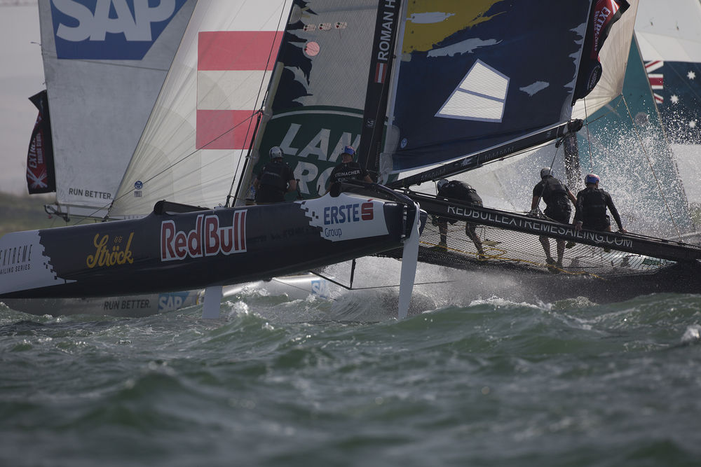 Red Bull Sailing Team<br />Red Bull Sailing Team pushed their Extreme 40 to the limits, battling the elements on the final days racing (Photo © Lloyd Images)