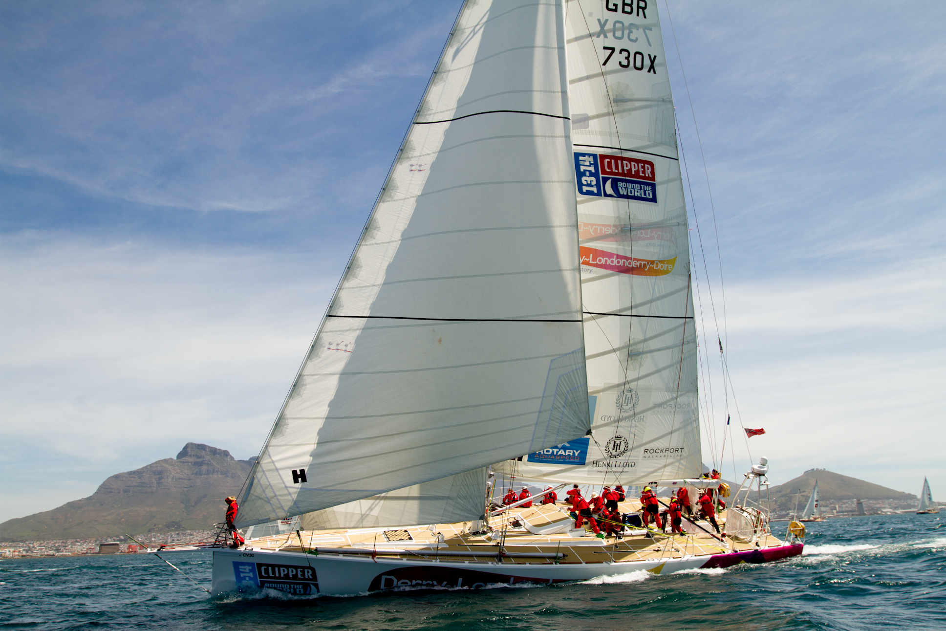 Derry~Londonderry~Doire at the start of Race 4 of the Clipper Round the World Yacht Race in Cape Town, South Africa