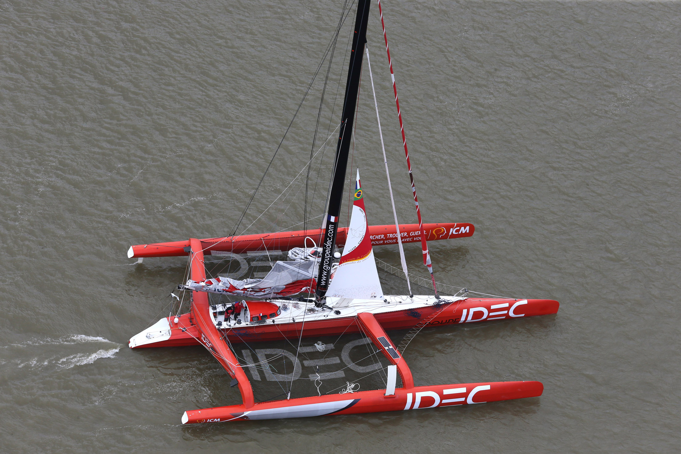 Aerial shoot of the Maxi trimaran IDEC and her skipper Francis Joyon in Bordeaux for their standby prior to sail for a new record between France and Brazil on April 04, 2014 - Photo Manuel Blondeau / DPPI