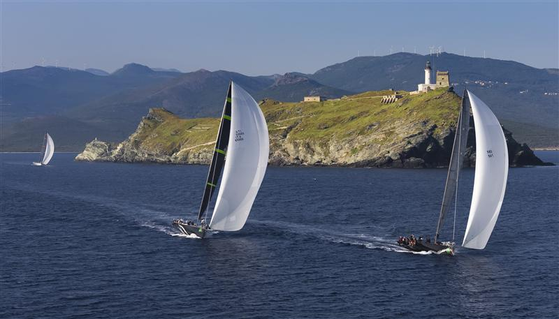 ETHOU, Sail n: GBR 74R, Owner: SIR PETER OGDEN, Group 0 (IRC >18.29 mt) STIG, Sail n: ITA65000, Owner: ALESSANDRO ROMBELLI, Group 0 (IRC >18.29 mt) ALEGRE, Sail n: GBR8728R, Owner: OLLY CAMERON, Group 0 (IRC >18.29 mt) rounding the Giraglia Rock (PHoto by Rolex / Carlo Borlenghi )