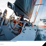 Team Alvimedica see their new Volvo Ocean 65 hit the water