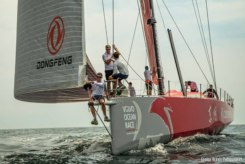 Dongfeng Sailing Team in Newport, Rhode Island (Photo by George Bekris)