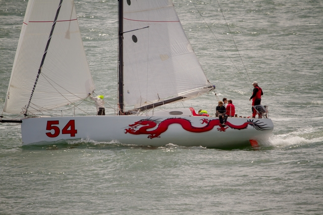 Michael Hennessy (Mystic, CT) and Rob Windsor (Centerport,  on Dragon  (Photo by George Bekris)