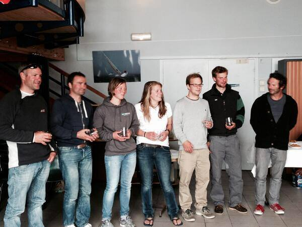 Prizegiving: L-R Olivier Morvan, Olivier Andre, Lizzy Foreman, Nikki Curwen, Felix Köster, Morgan Bogacki. (Absent – Toby Iles and Pip Hare – already en route to Cherbourg!)