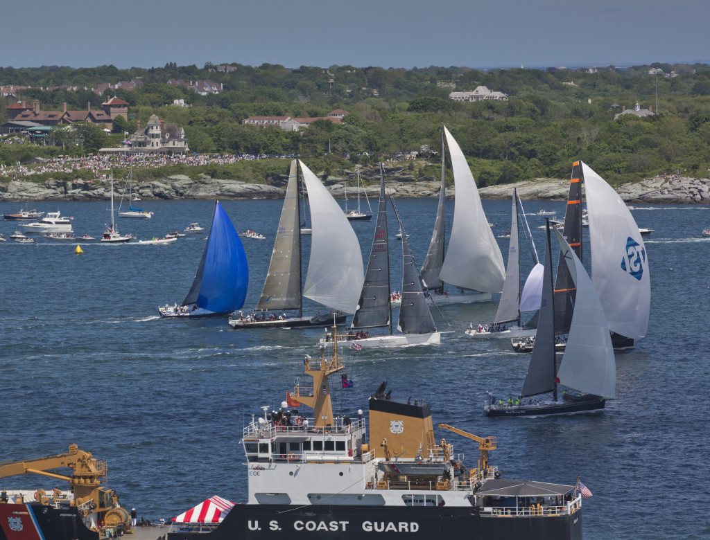 2012 Newport Bermuda Yacht Race -start in Narragansett Bay Class 10 Gibbs Hill lighthouse division Rambler - USA 25555 - Custom 90 maxi  yacht skippered by  George David Belle Mente - USA 45 - 72ft mini maxi  yacht skippered by  Hap Fauth Team Tiburon Wizard -USA 4511 - Reichel Pugh 74 skippered by Mark E Watson III - USMMA Shockwave - USA 60272 - mini- maxi  yacht skippered by  George Skellaris Rima II - USA 55155 - Reichel Pugh 55  yacht skippered by  John G Brin Stark Raving Mad - USA 61011 - Swan 601 production  yacht skippered by  James C Madden Meanie - CAN 84248 - Reichel Pugh 52   yacht skippered by  Thomas Akin