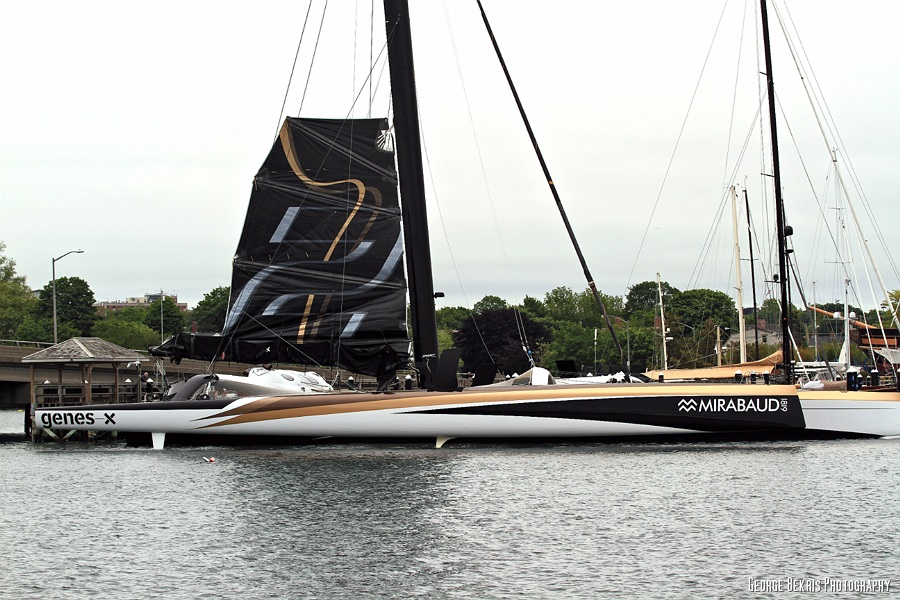 Spindrift 2 at Newport shipyard awaiting weather window for North Atlantic record attempt  ( Photo by George Bekris )