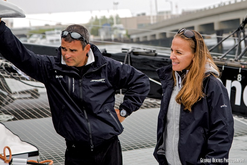 Yann Guichard and Dona Bertarelli Co-Skippers of Spindrift 2 (Photo by George Bekris)