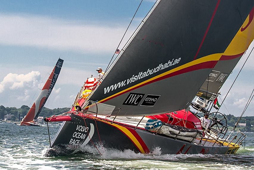 Team Abu Dhabi Ocean Racing and Team Alvimedica leave Newport, RI for the United Kingdom (Photo by George Bekris)