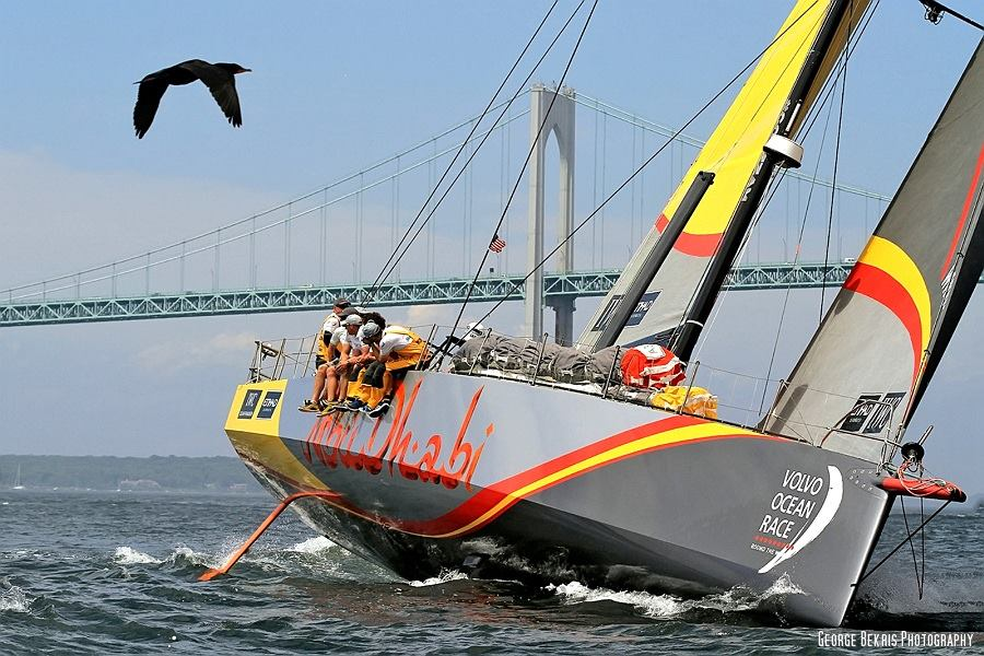 Team Abu Dhabi and Team Alvimedica leave Newport, RI for the United Kingdom (Photo by George Bekris)