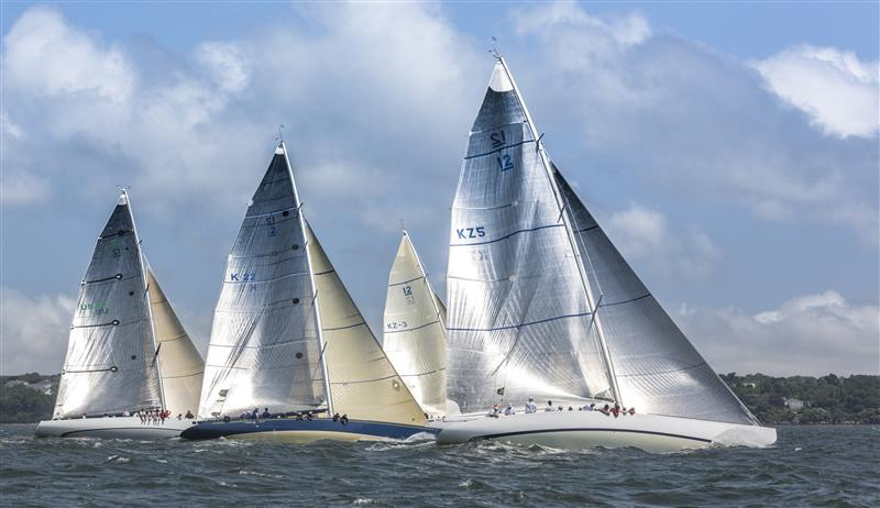 12 Metres LAURA, VICTORY and INTREPID during Part I of Race Week LAURA, Sail Number: KZ5, Owner/Skipper: Kip Curren, Class: Classics - One Design, Yacht Type: 12 Metre, Home Port: Warwick, RI, USA VICTORY 83, Sail Number: K 22, Owner/Skipper: Dennis Williams, Class: Classics - One Design, Yacht Type: 12 Metre, Home Port: Hobe Sound, FL, USA INTREPID, Sail Number: US 22, Owner/Skipper: Jack Curtin, Class: Classics - One Design, Yacht Type: 12 Metre, (Photo by Rolex/Daniel Forster)