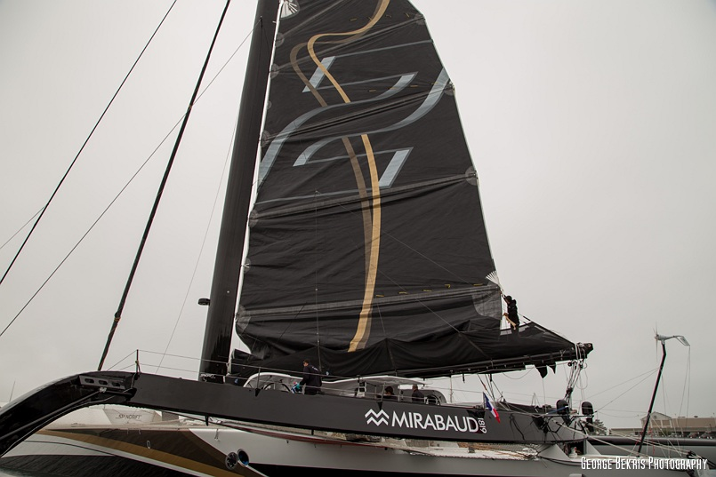 RMaxi Trimaran Spindrift 2 on Standby at Newport Shipyard, Newport, RI (Photo by George Bekris)