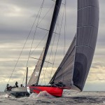 "Maiden Sail of the 100′ Super Maxi Racer ""Comanche"" skippered by Ken Read"