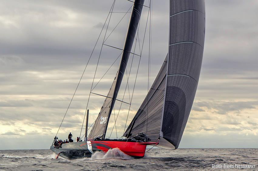 "Maiden sail of Maxi Racer ""Comanche"", skipper by Ken Read on Rhode Island Sound off Newport, Rhode Island  (Photo by George Bekris)"
