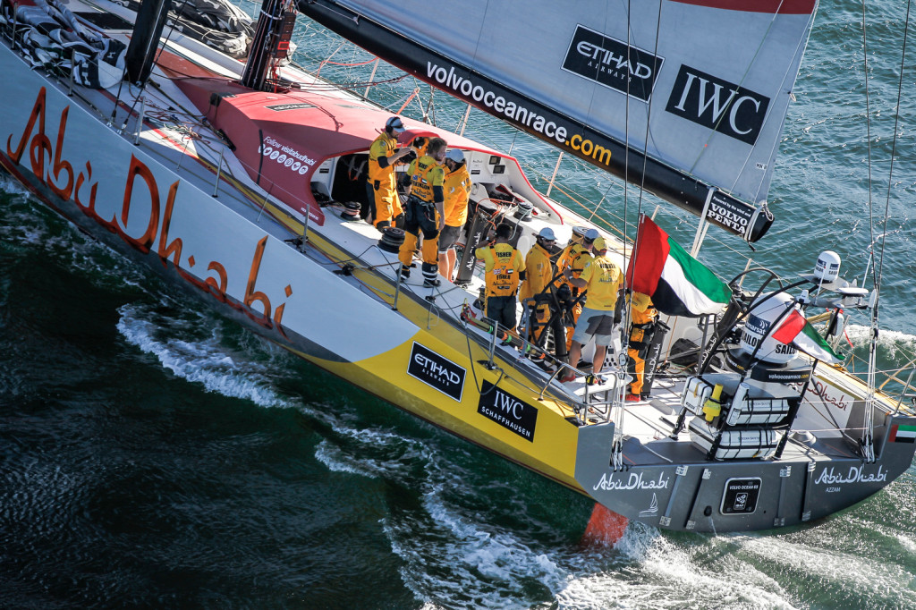 November 05, 2014. Abu Dhabi Ocean Racing crosses the finish line winning Leg 1 from Alicante to Cape Town after 25 days of sailing.  (Photo copyright Ainhoa Sanchez/Volvo Ocean Race )
