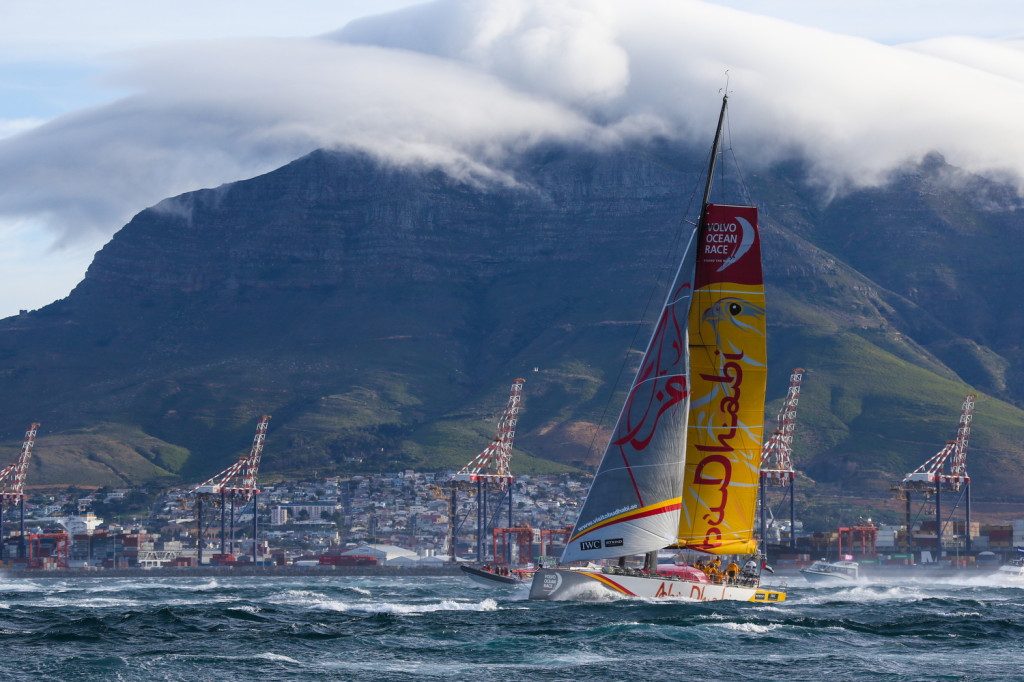 Abu Dhabi Ocean Racing leaving Cape Town, South Africa at start of Leg 2 of the Volvo Ocean Race 2014-15 (Photo © Chris Shoemaker/Volvo Ocean Race)