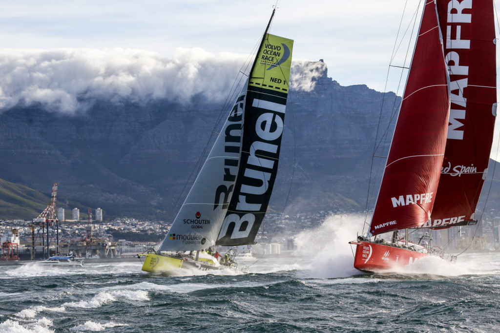 Brunel and Mapfre leave Cape Town, South Africa at start of Leg 2 of the Volvo Ocean Race 2014-15 (Photo © Chris Shoemaker/Volvo Ocean Race)