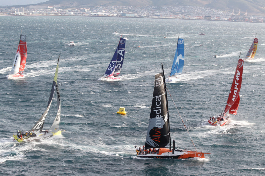 Volvo Ocean Race Fleet round mark before heading out of Cape Town starting Leg 2  (Photo © Ainhoa Sanchez/Volvo Ocean Race)