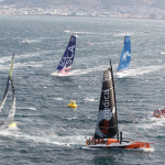 Team Brunel breeze out of Cape Town in the Volvo Ocean Race 2014-15 Leg 2 Start