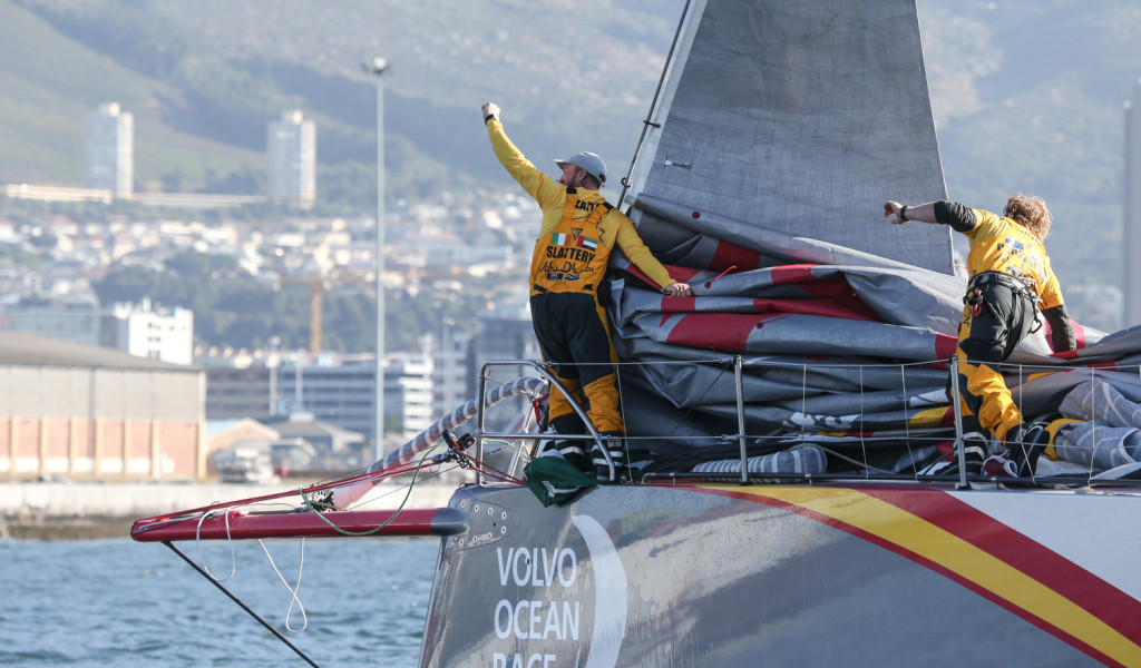 November 5, 2014. Abu Dhabi Ocean Racing celebrate after crossing the finish line in Cape Town as the winners of  Leg 1 (Photo copyright Charlie Shoemaker/Volvo Ocean Race)