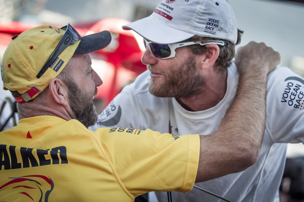 Ian Walker greets Charles Caudrelier as Team Dongfeng docks and takes 2nd place just minutes after Abu Dhabi Ocean Racing grabs first place in Leg 1 (Photo © Ainhoa Sanchez/Volvo Ocean Race)