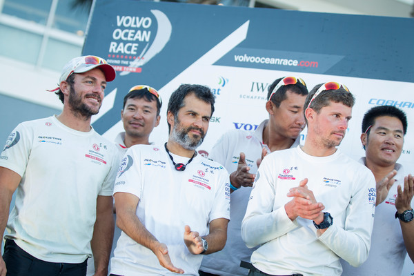 November 05, 2014. Dongfeng Race Team on stage for the Prize Giving in Cape Town after arriving second.  (Photo © Ainhoa Sanchez/Volvo Ocean Race)