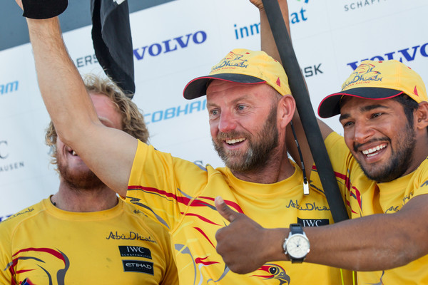 November 05, 2014. Skipper Ian Walker, Adil Khalid and Luke Parkinson on stage for the prize giving. Abu Dhabi was first of Leg 1 from Alicante to Cape Town.  ( Photo © Ainhoa Sanchez/Volvo Ocean Race)