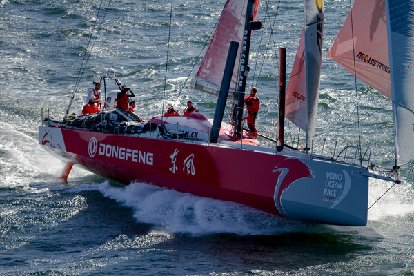 Charles Caudrelier and Team Dongfeng  takes 2nd place just minutes after Abu Dhabi Ocean Racing grabs first place in Leg 1 (Photo © Ainhoa Sanchez/Volvo Ocean Race)