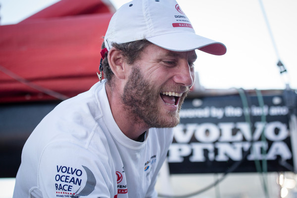 November 5, 2014. Dongfeng Race Team Skipper, Charles Caudrelier, talks to the media after their arrival to Cape Town in second place for Leg 1. (Photo by Charlie Shoemaker/Volvo Ocean Race)