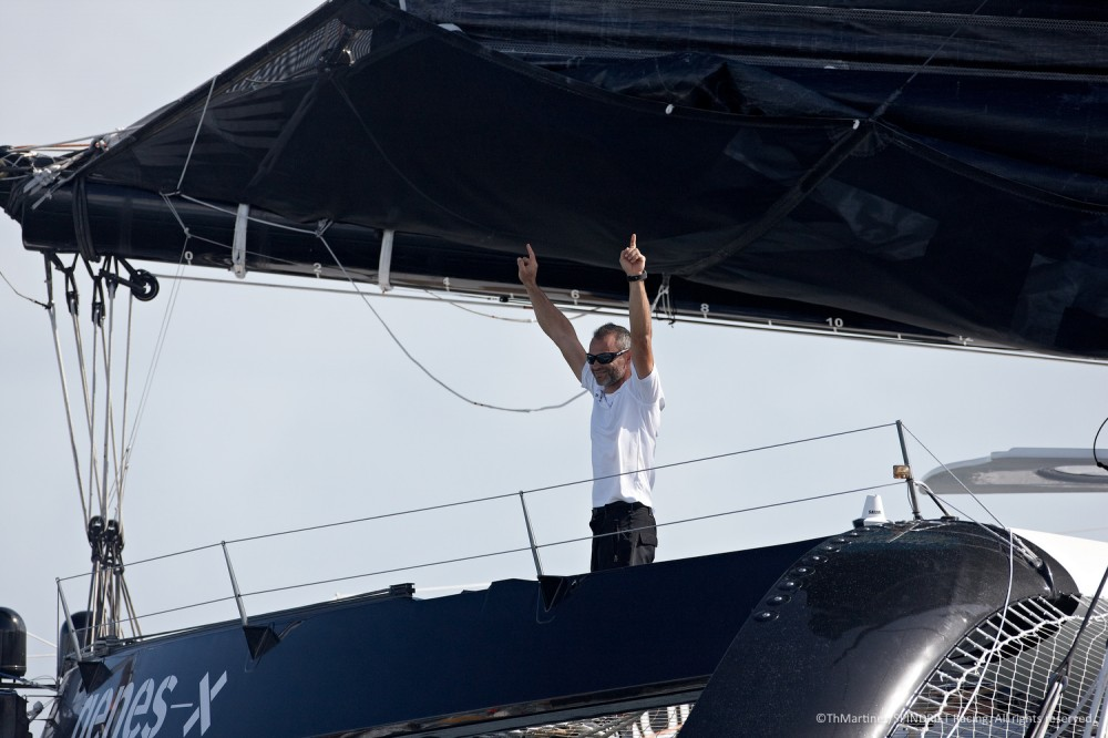 (Photo  © Th.Martinez/Sea&Co )  Yann Guichard ( FRA)  maxi trimaran SPINDRIFT 2  Route du Rhum.