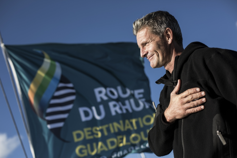 Sidney Gavignet before the start of the Route du Rhum 2014 (Photo by Mark Lloyd / Lloyd Images)