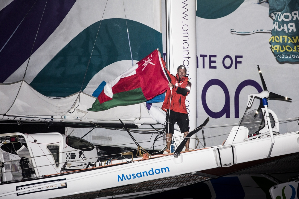 The 2014 Route Du Rhum finish. Guadeloupe. Pictures of Sidney Gavignet onboard his MOD70 Trimaran Musandam - Oman . Finishing the Route du Rhum in 5th place this morning Credit: Mark Lloyd/Lloyd Images