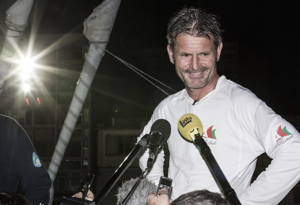 The 2014 Route Du Rhum finish. Guadeloupe. Pictures of Sidney Gavignet onboard his MOD70 Trimaran Musandam - Oman . Sidney speaks with reporters after the finish  ( Photo © Mark Lloyd/Lloyd Images)