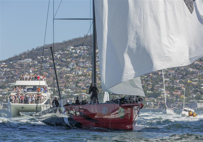 COMANCHE (USA), 2nd across the line in the 2014 Rolex Sydney Hobart Race Finishish Line COMANCHE, Sail n: 12358, Bow n: 58, Design: Verdier Yacht Design & Vplp, Owner: Jim Clark & Kristy Hinze-Clark, Skipper: Ken Read (Phot by Rolex/Carlo Borlenghi)