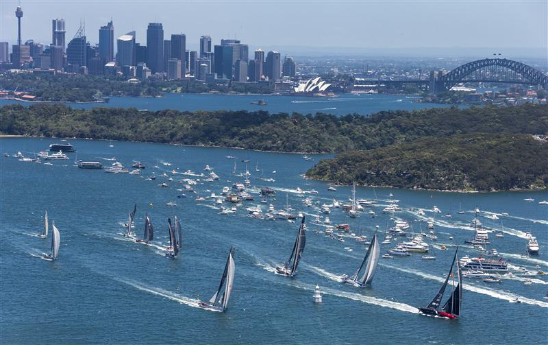 Opera House and Harbour Bridge as impressive background for the start of the Rolex Sydney Hobart (Phot by Rolex / Carlo Borlenghi)