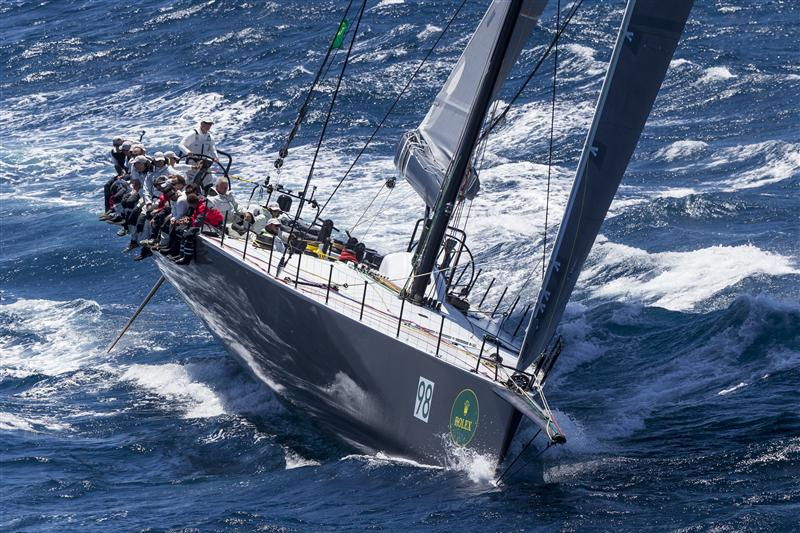 MANOUCH MOSHAYEDI'S RIO 100 (USA), ONE OF FIVE 100FT MAXIS IN CONTENTION  Race Start RIO 100, Sail n: USA2121, Bow n: 98, Design: Bakewell-White 100, Owner: Manouch Moshayedi, Skipper: Manouch Moshayedi (Photo by Rolex / Daniel Forster)