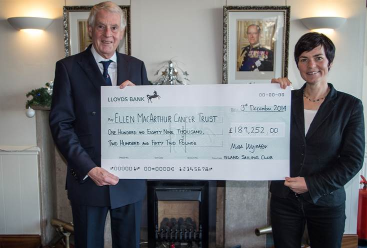 Dame Ellen MacArthur receives a cheque from ISC Commodore Mark Wynter for the total funds raised to date for the Trust through its partnership with the J.P. Morgan Asset Management Round the Island Race.  Photo: Mark Lamble.
