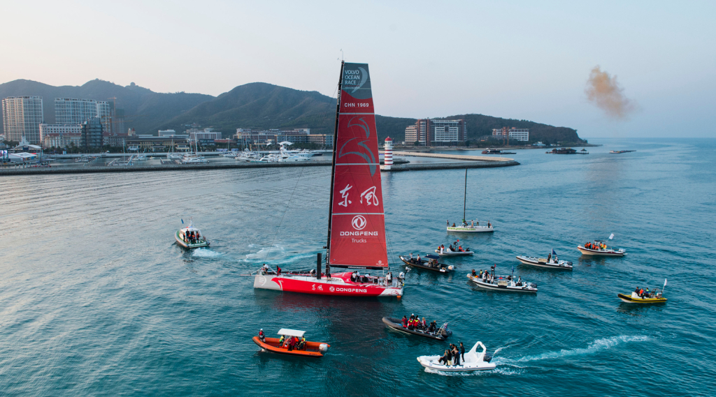 Dongfeng Race Team escorted into Sanya after winning leg 3 of the Volvo Ocean Race 2014-15.  (Photo by Victor Fraile/Volvo Ocean Race)