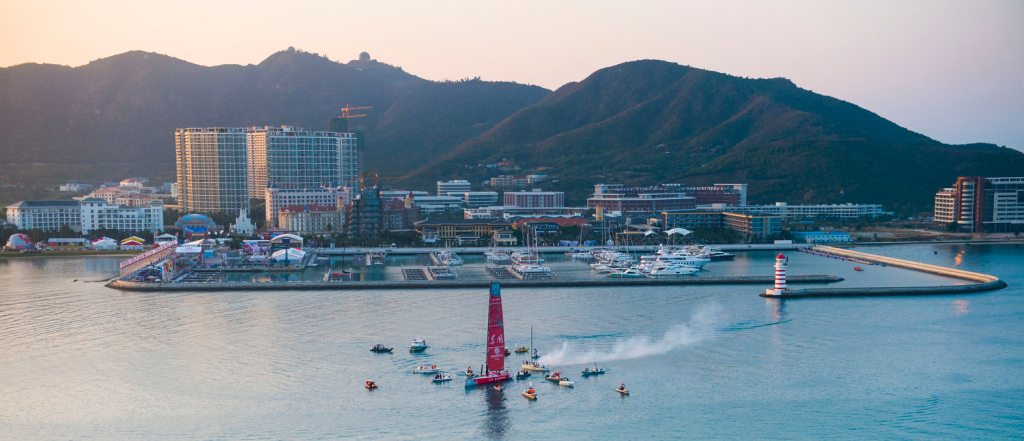 January 27, 2015. Dongfeng Race Team arrives in Sanya in first position, leader of Leg 3 after 23 days of sailing.  (Photo by Victor Fraile/Volvo Ocean Race)