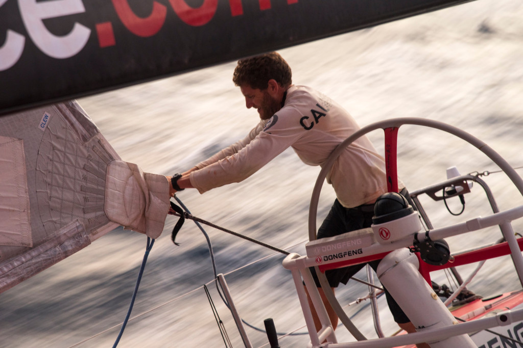 Charles Caudrelier,  Skipper of Dongfeng Race Team making sail adjustments prior to winning leg 3 of the Volvo Ocean Race 2014-15 in Sanya, China (Photo by  Sam Greenfield/Dongfeng Race Team/Volvo Ocean Race)