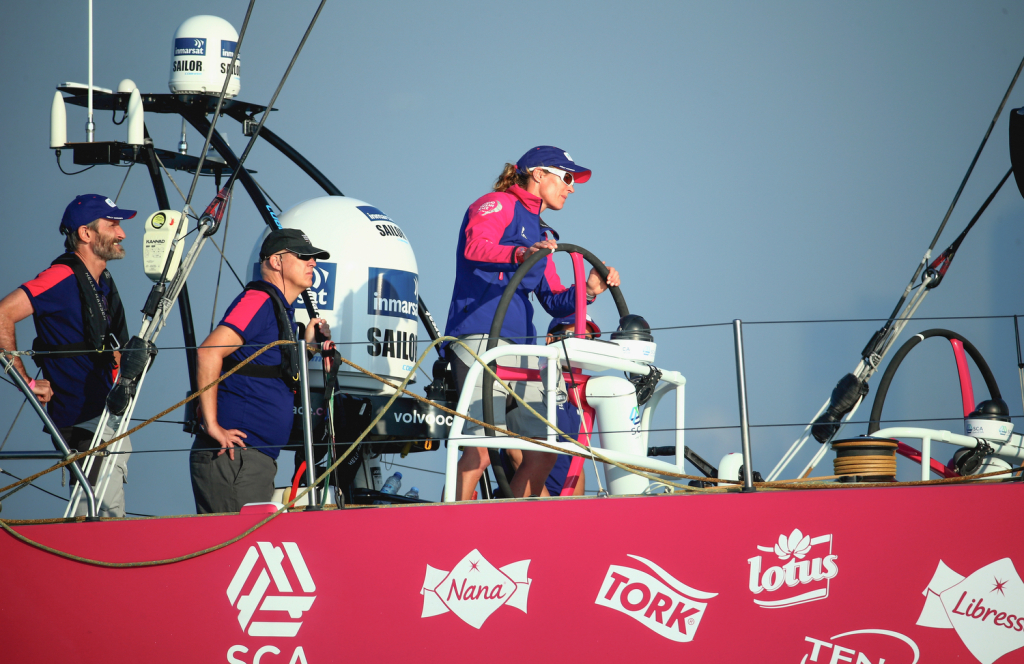 January 2, 2015. Team SCA win the Abu Dhabi In-Port Race. (Photo by Warren Little / Volvo Ocean Race)