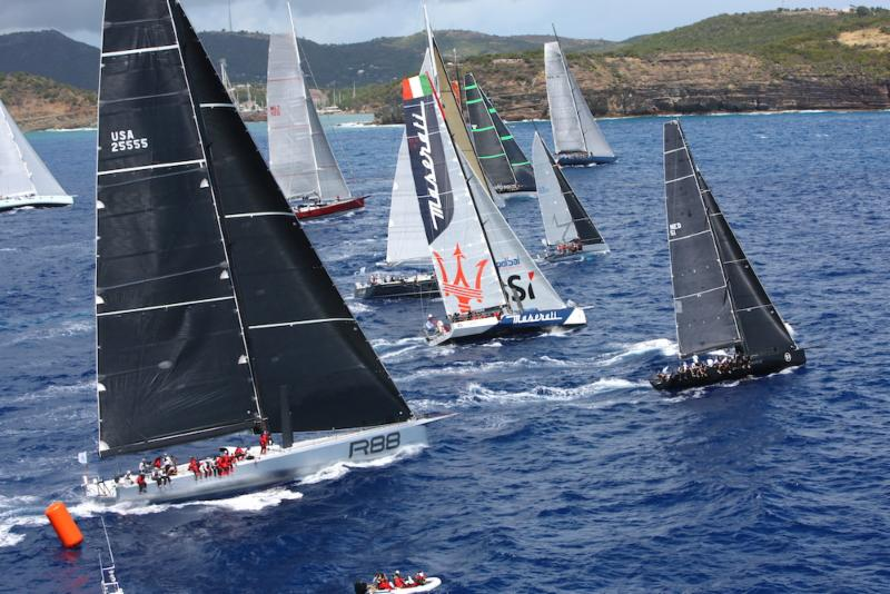 A spectacular start to the 2015 RORC Caribbean 600 in Antigua as IRC Zero and Canting Keel class, including George David's Rambler 88 and John Elkann's Volvo 70, Maserati cross the line (Photo  ©Tim Wright/Photoaction.com)