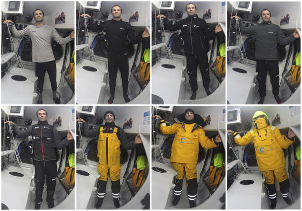 08/02/2015, Barcelona World Race 2014-15, Onboard One Planet One Ocean & Pharmaton with Aleix Gelabert and Didac Costa, Clothing equipment for the Southern ocean ( Photo ©  Aleix Gelabert and Didac Costa)
