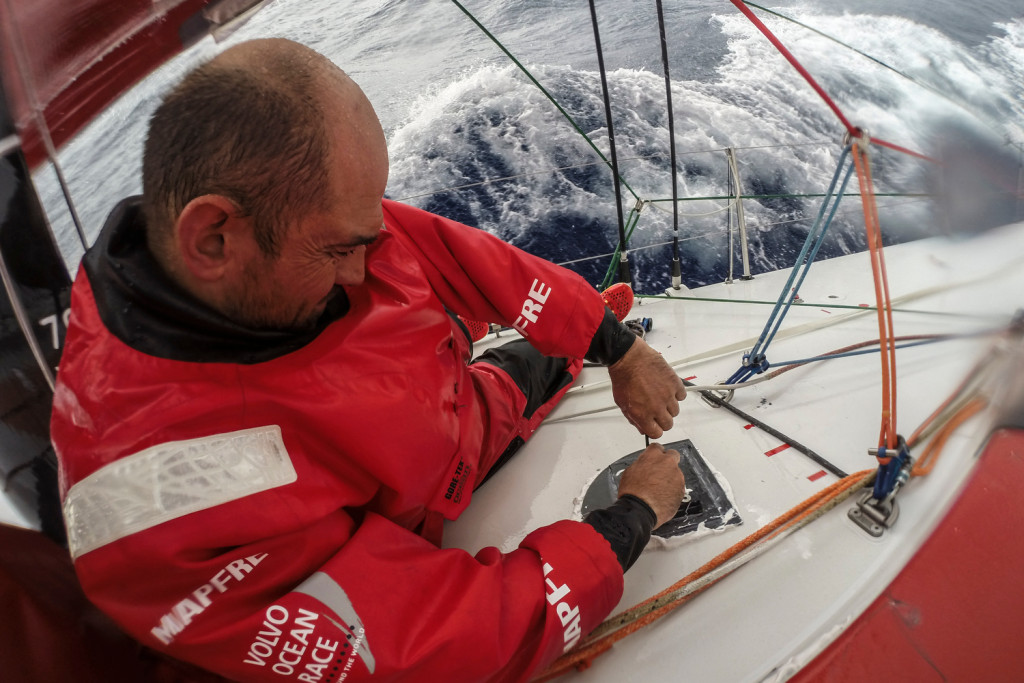 SANYA, CHINA - FEBRUARY 13:  In this handout image provided by the Volvo Ocean Race onboard MAPFRE, Xabi Fernandez holding the new base for the outrigger during Leg 4 from Sanya to Auckland on February 08, 2015 in Sanya, China. The Volvo Ocean Race 2014-15 is the 12th running of this ocean marathon. Starting from Alicante in Spain on October 04, 2014, the route, spanning some 39,379 nautical miles, visits 11 ports in eleven countries (Spain, South Africa, United Arab Emirates, China, New Zealand, Brazil, United States, Portugal, France, The Netherlands and Sweden) over nine months. The Volvo Ocean Race is the world's premier ocean yacht race for professional racing crews. (Photo by Francisco Vignale/MAPFRE/Volvo Ocean Race via Getty Images)