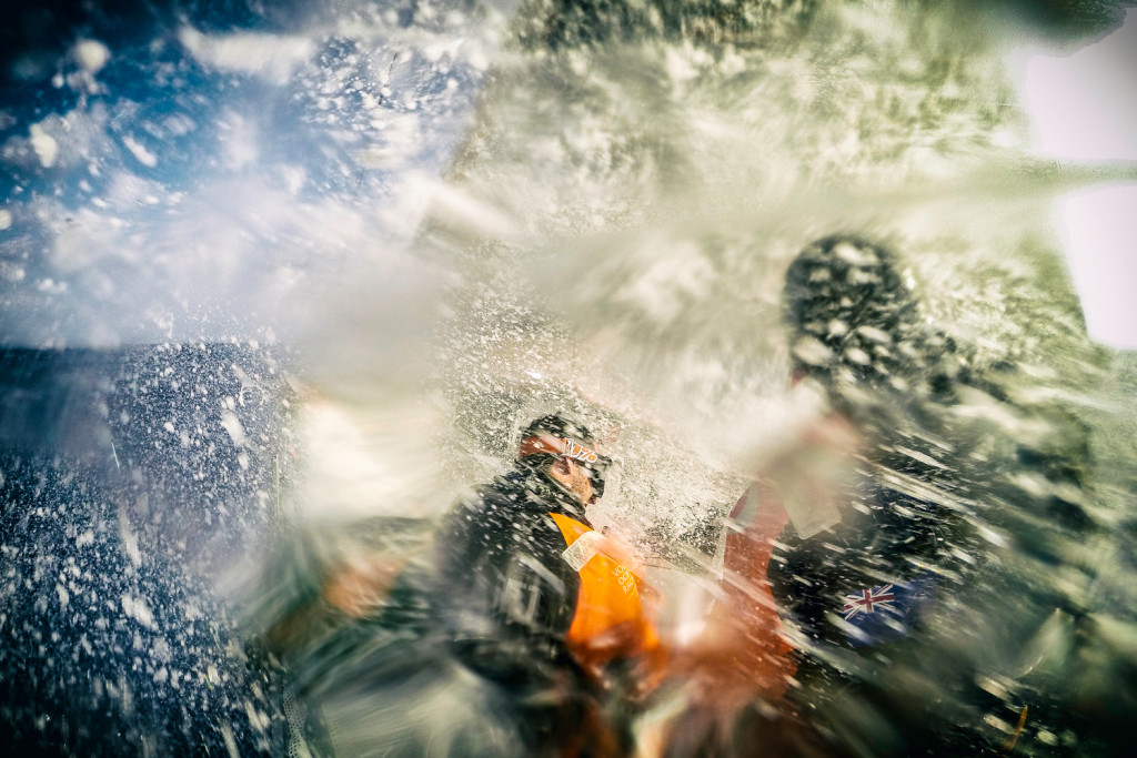 February 15, 2015. Leg 4 to Auckland onboard Team Alvimedica. Day 7. Choppy and rough trade-wind sailing in the Philippine Sea for Ryan Houston (R, at helm) and Nick Dana (L, trimming the main). (Photo ©Amory Ross / Team Alvimedica / Volvo Ocean Race)