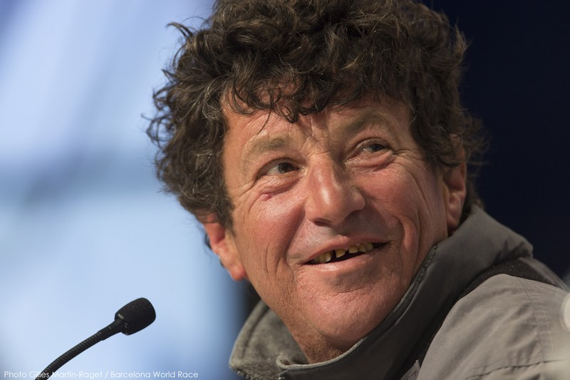 Jean Le Cam at press conference (Photo by Gilles Martin-Raget / Barcelona World Race )
